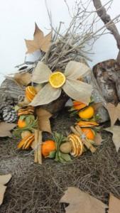 Corona con naranjas de adviento